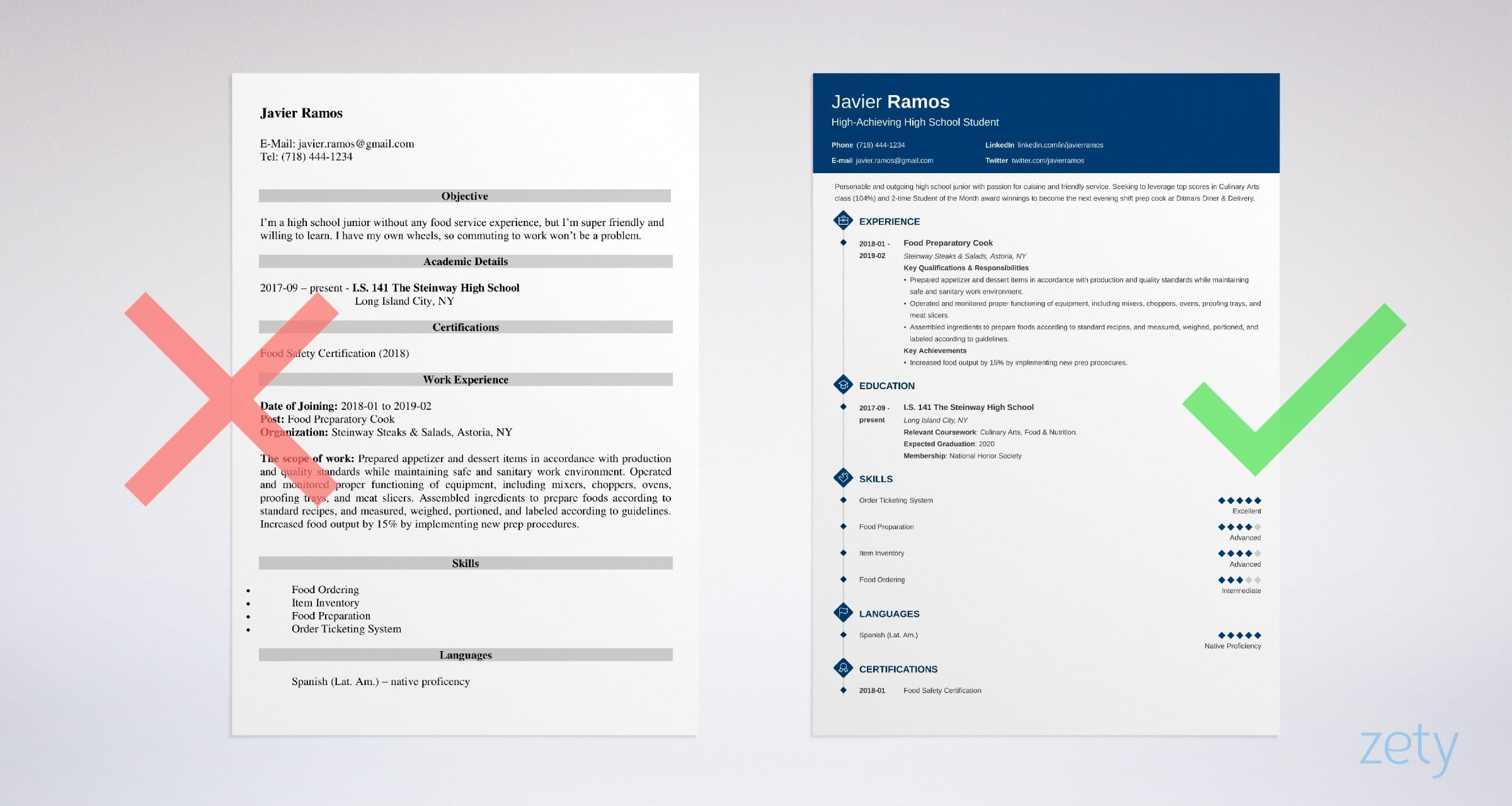 High School Student Resume Template   Objective Examples