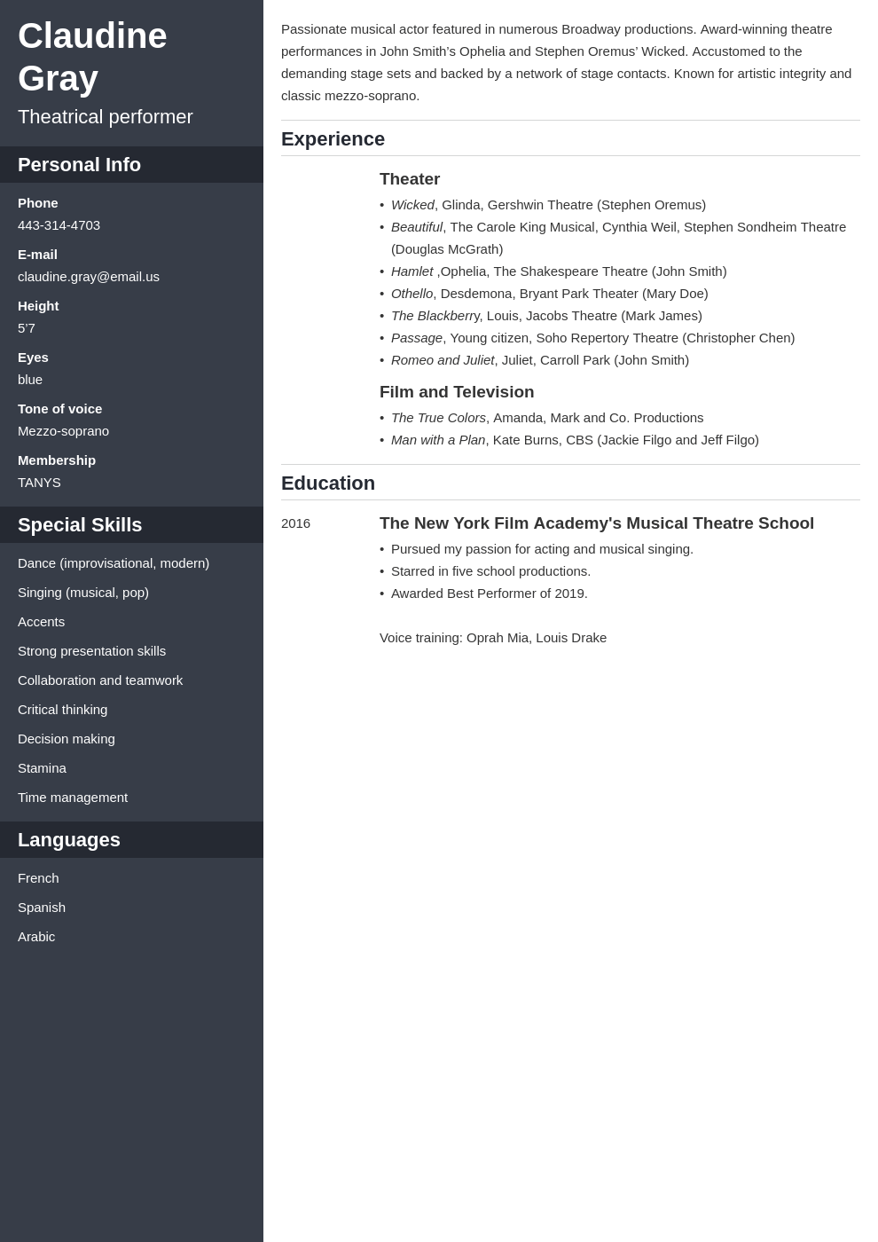 theater resume example template cascade