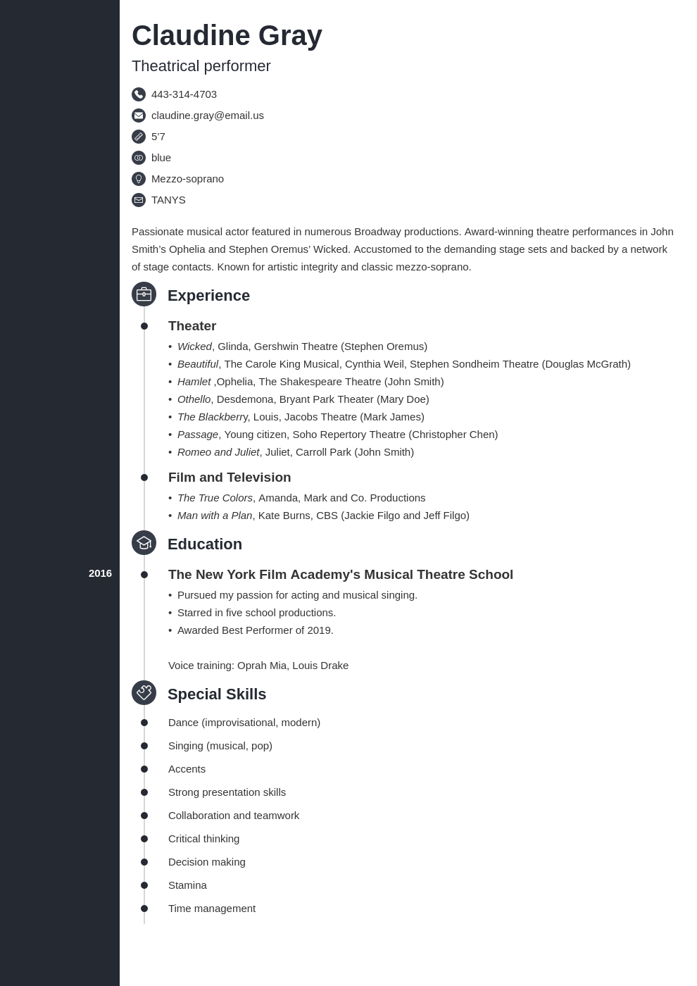 theater resume example template concept