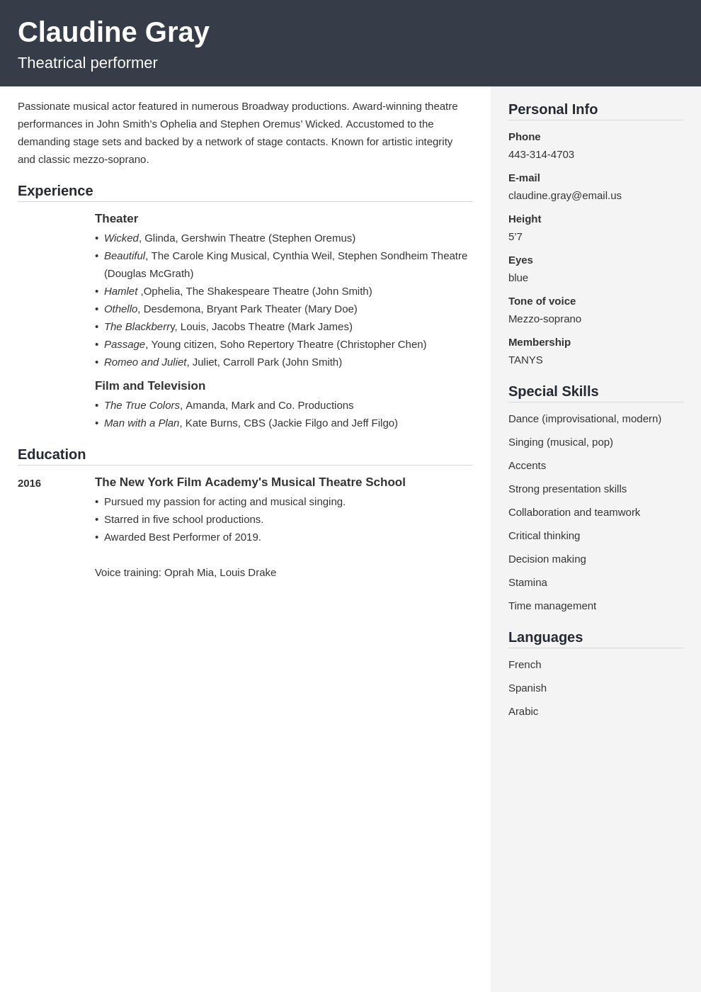 theater resume example template cubic
