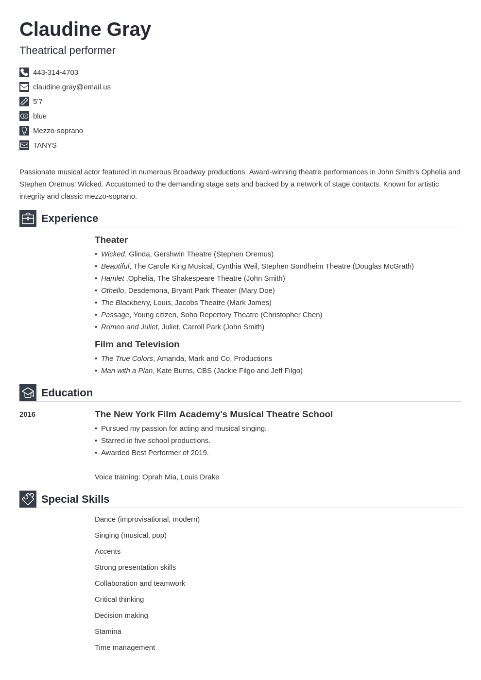 theater resume example template iconic