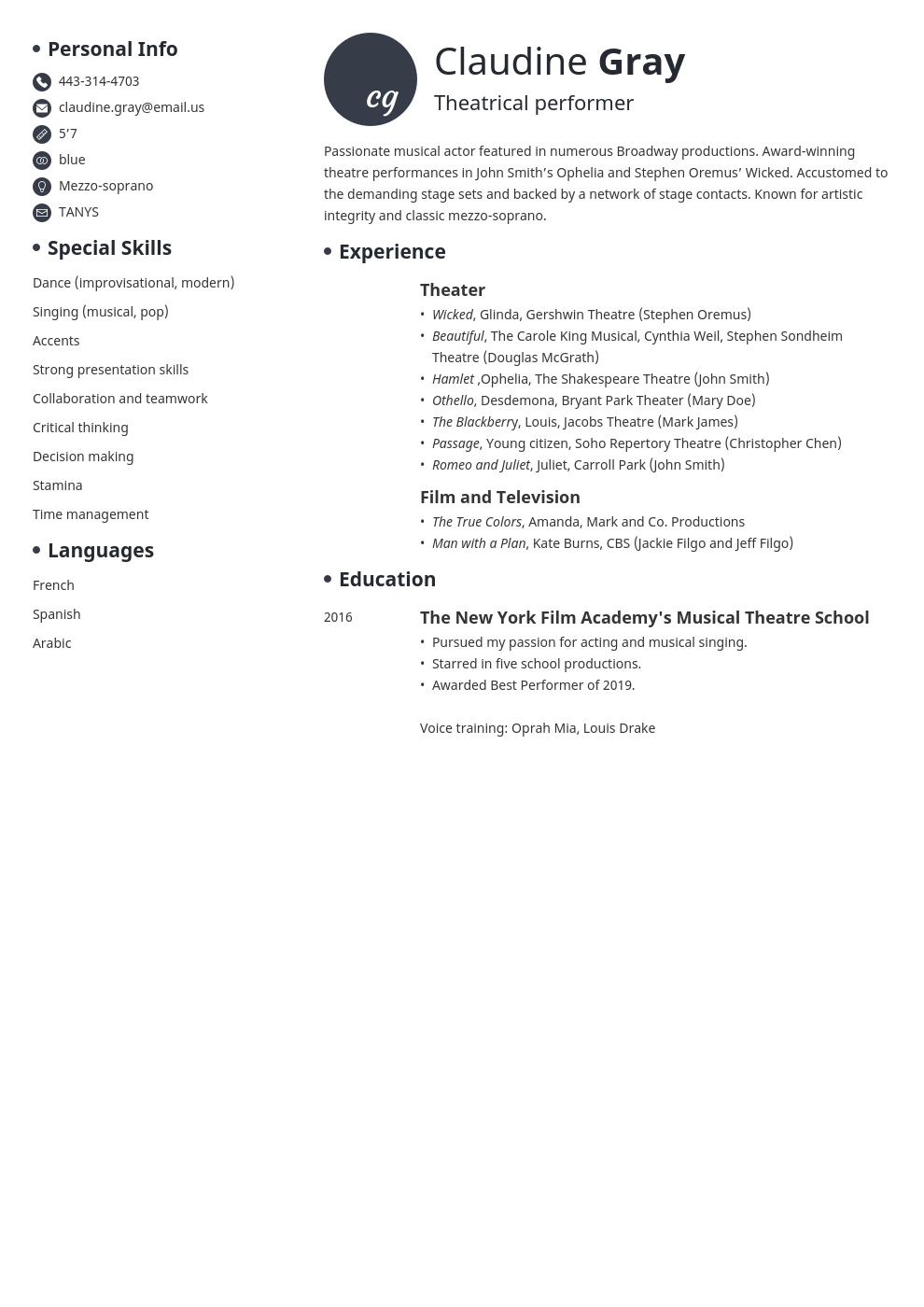 theater resume example template initials