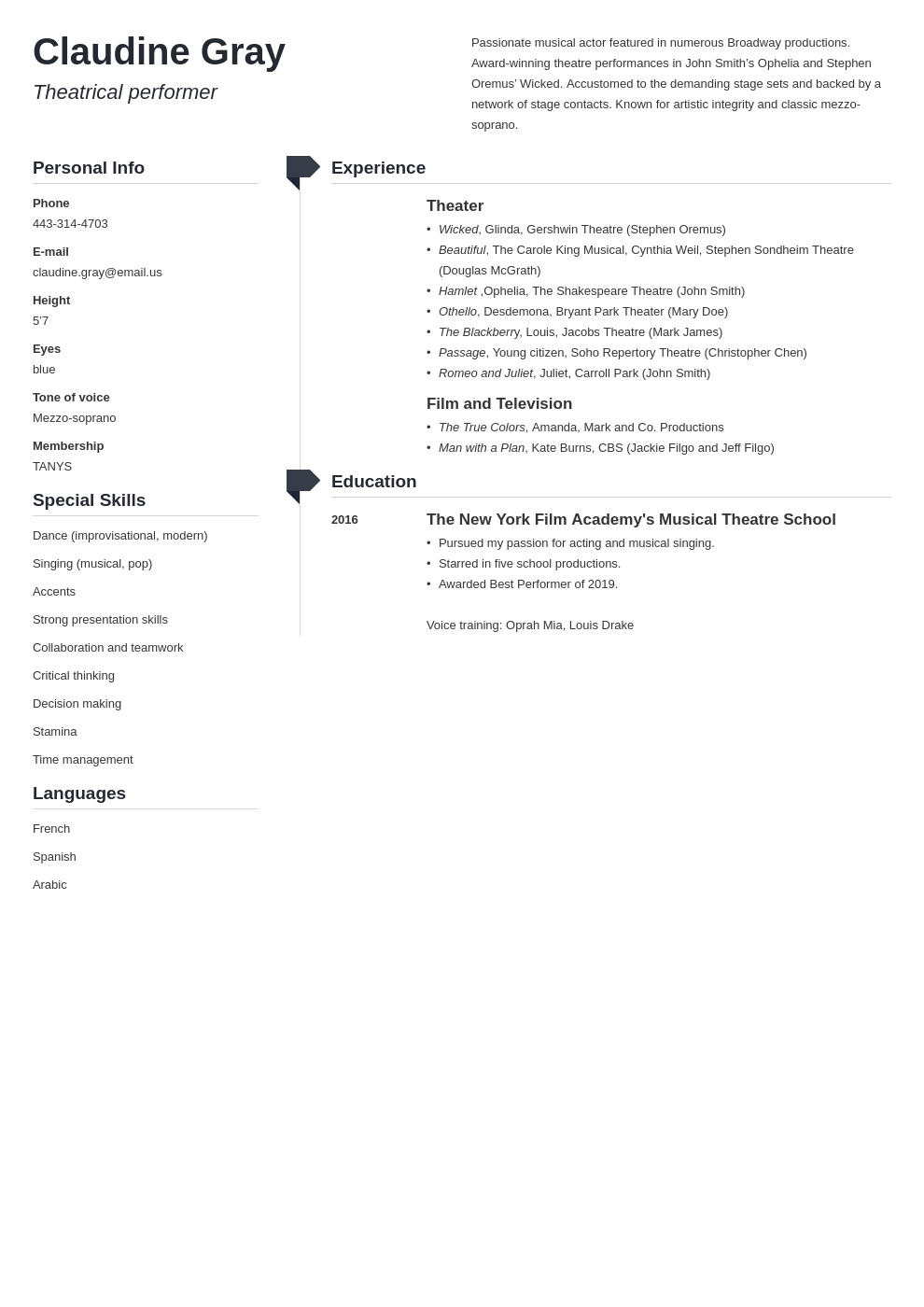 theater resume example template muse