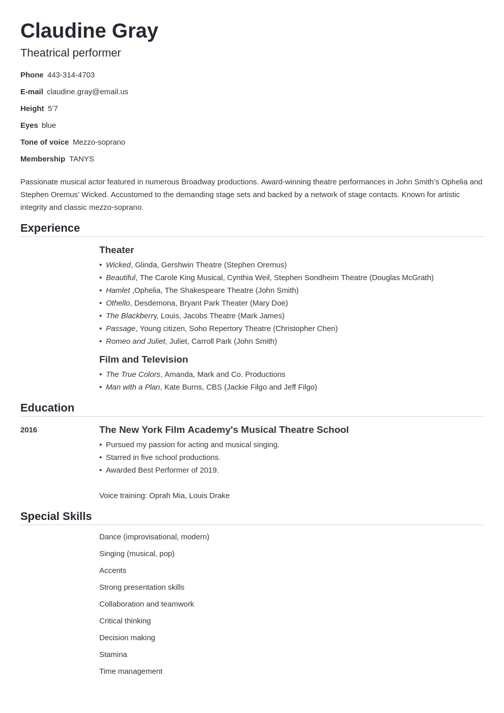 theater resume example template nanica