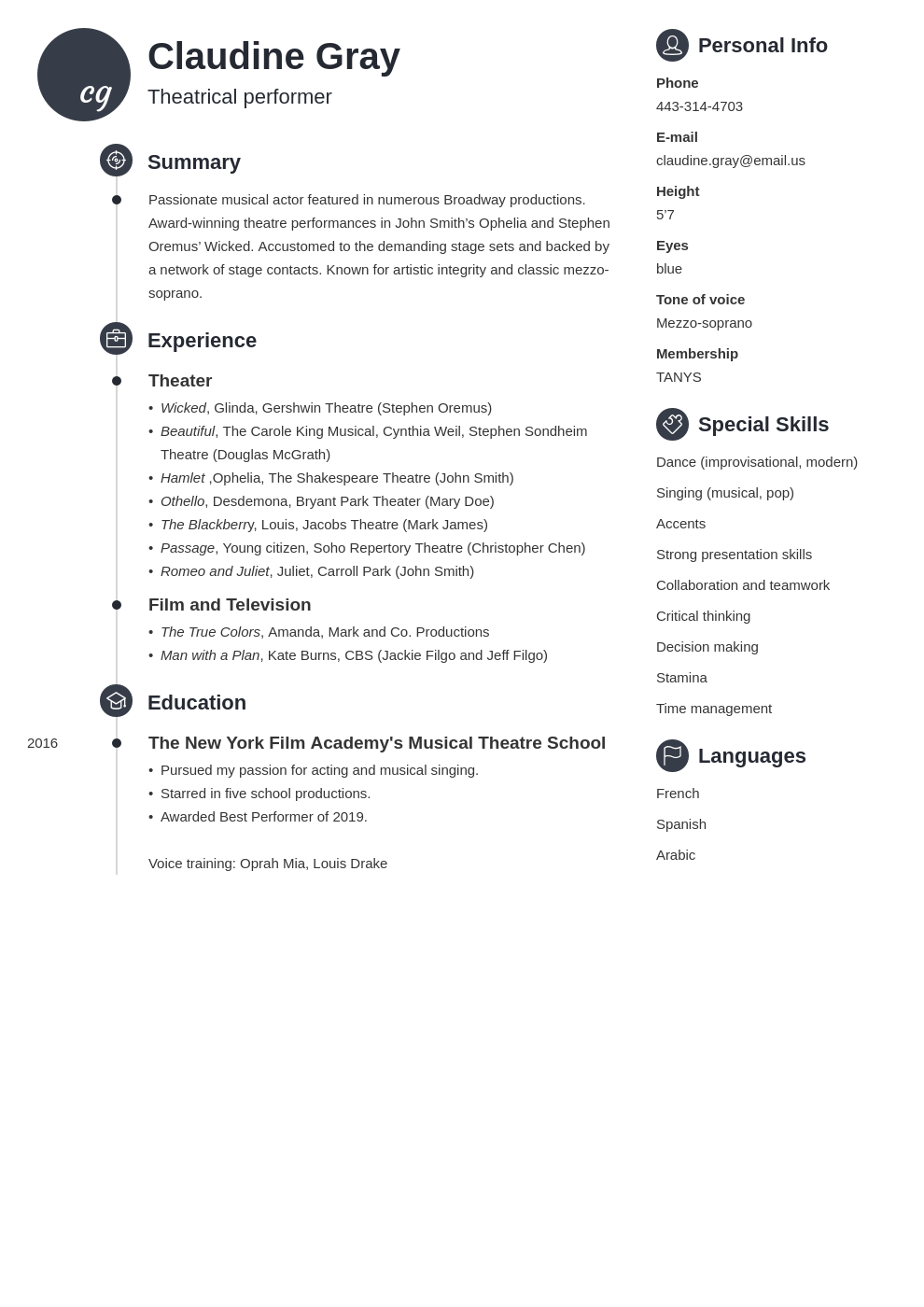 theater resume example template primo