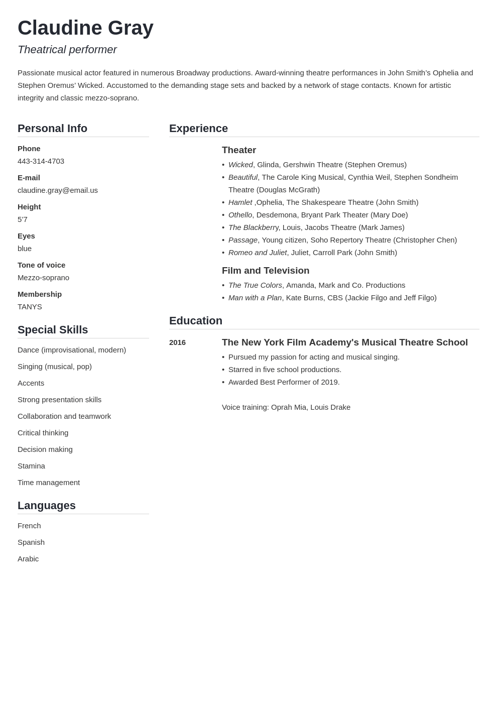 theater resume example template simple
