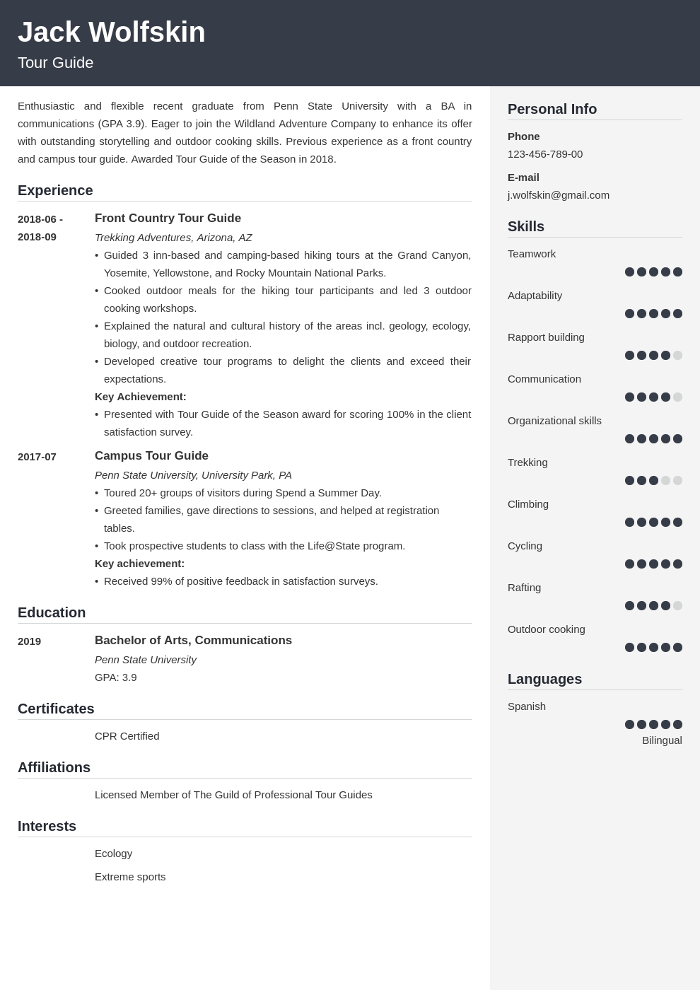 tour guide resume example template cubic