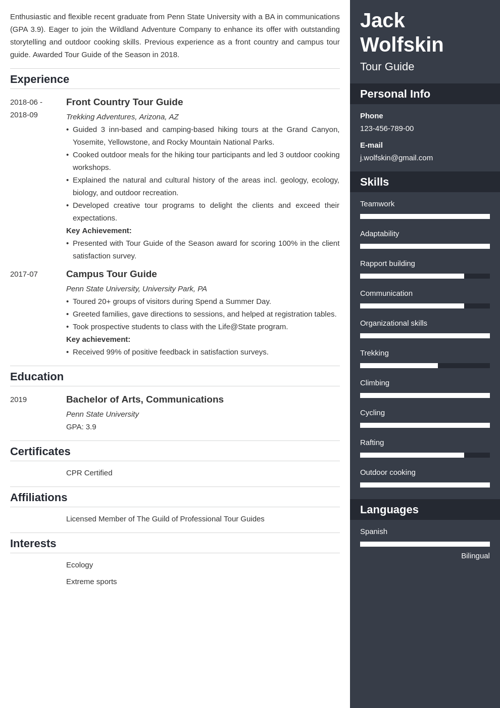 tour guide resume example template enfold