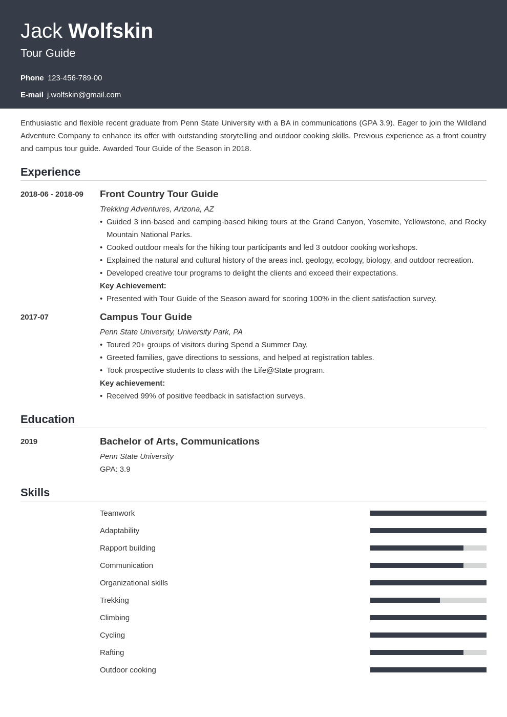 tour guide resume example template influx
