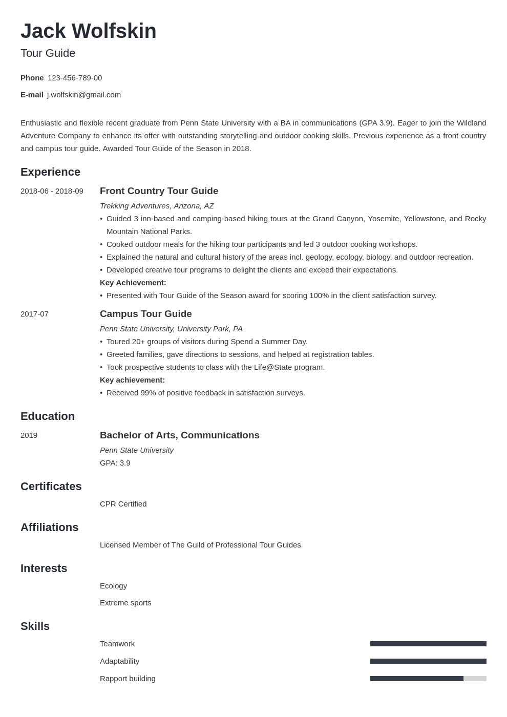 tour guide resume example template minimo