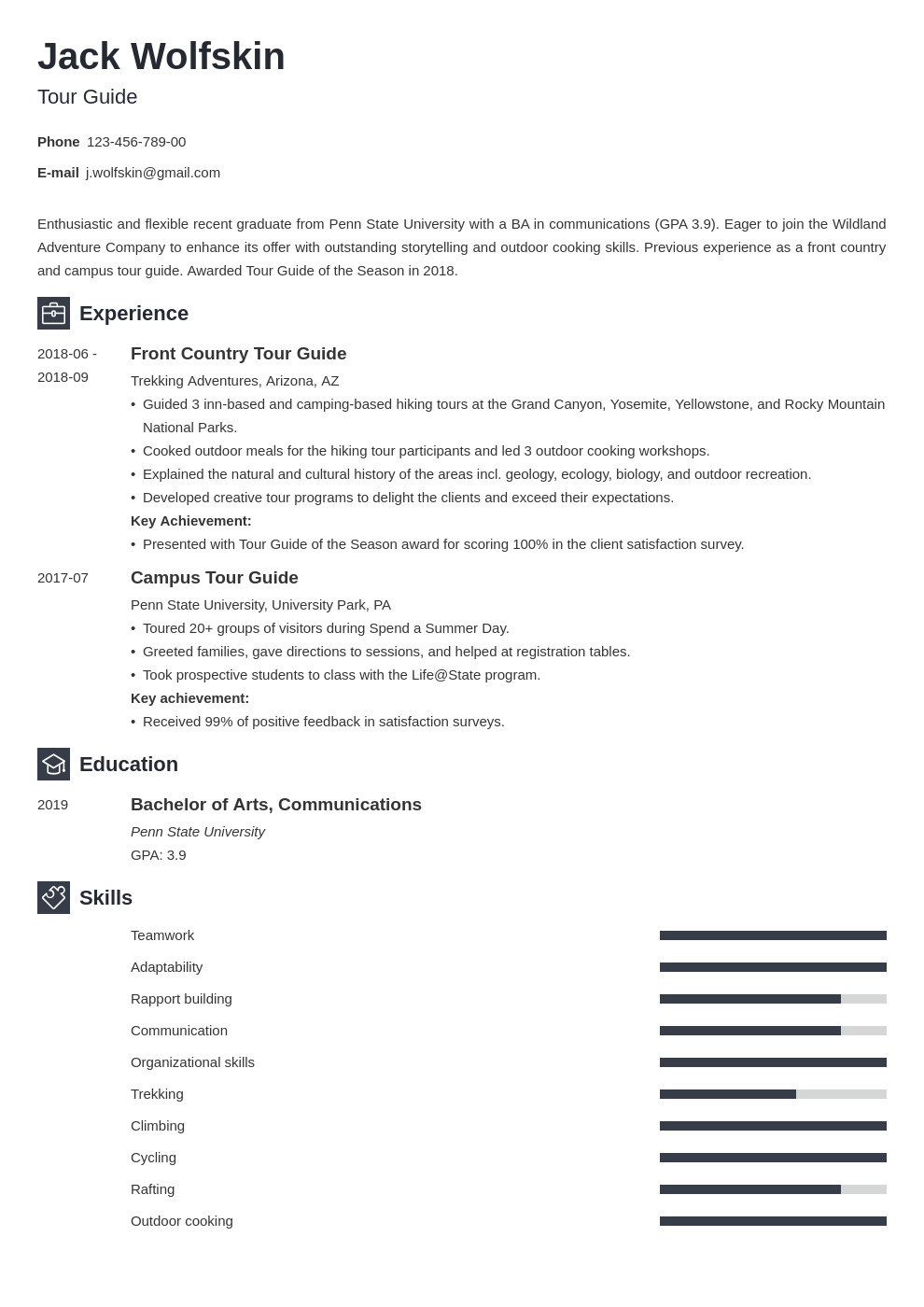tour guide resume example template newcast