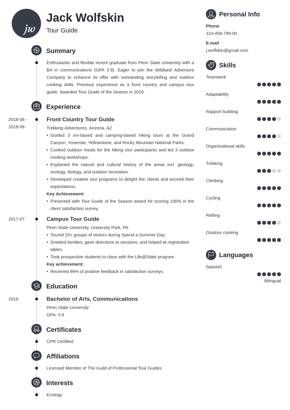 tour guide resume example template primo
