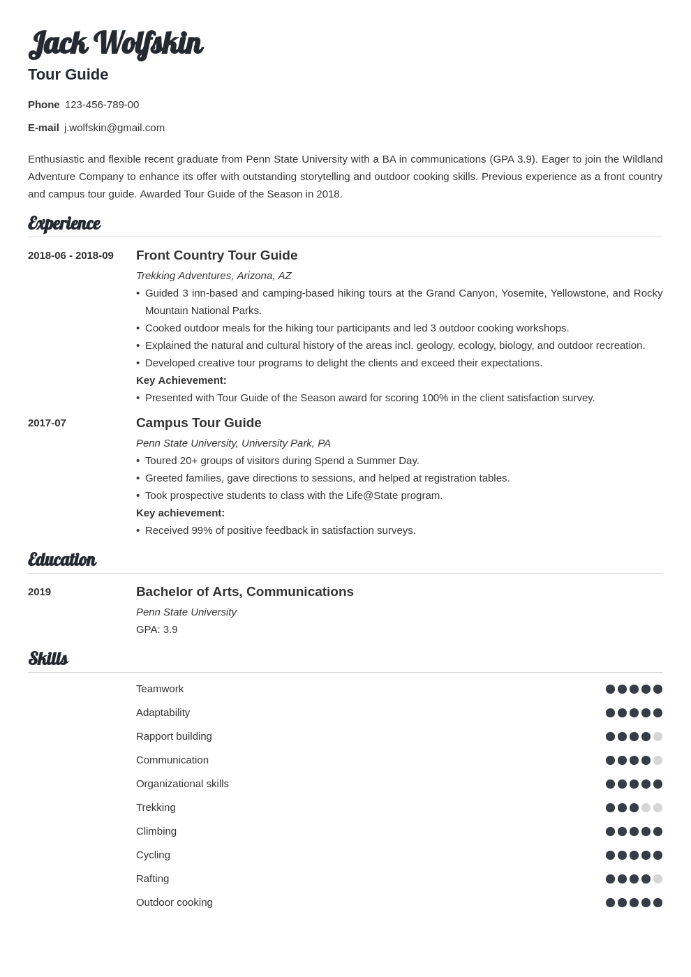 tour guide resume example template valera
