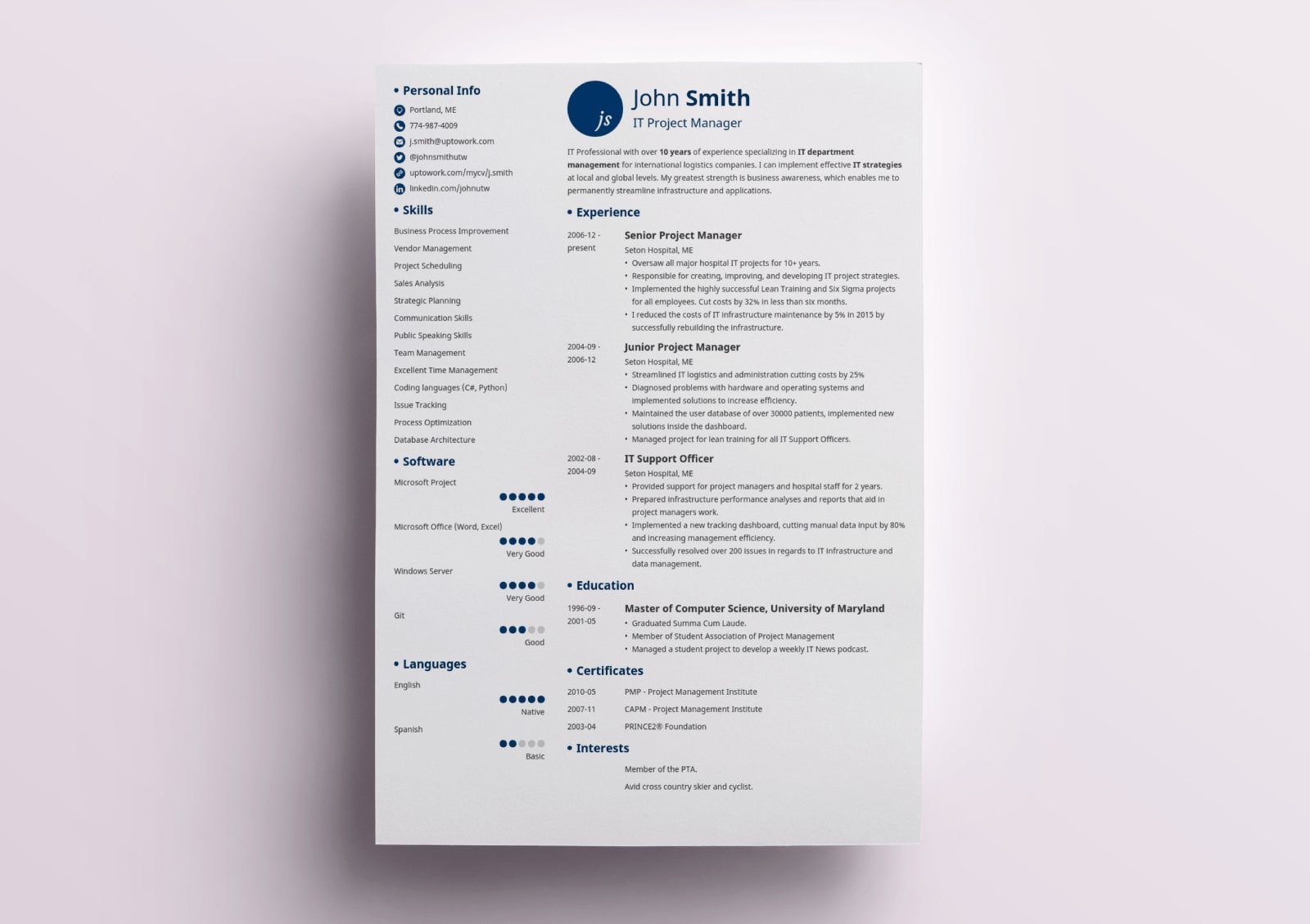 traditional resume by zety