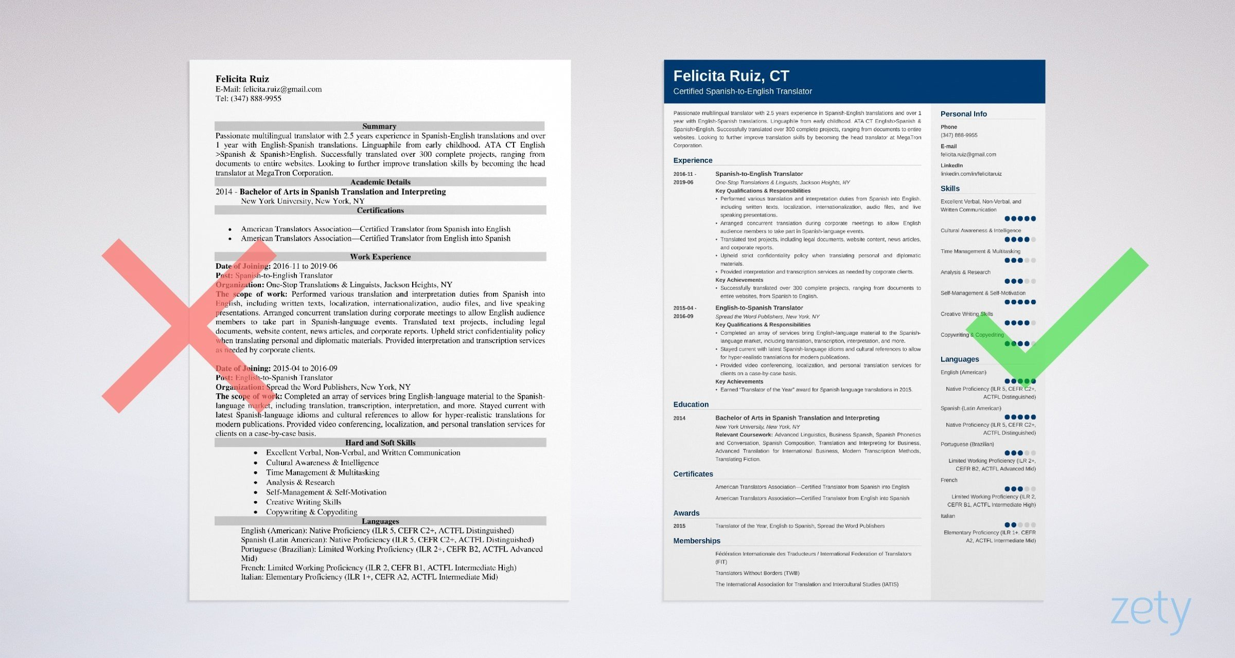 translator resume templates