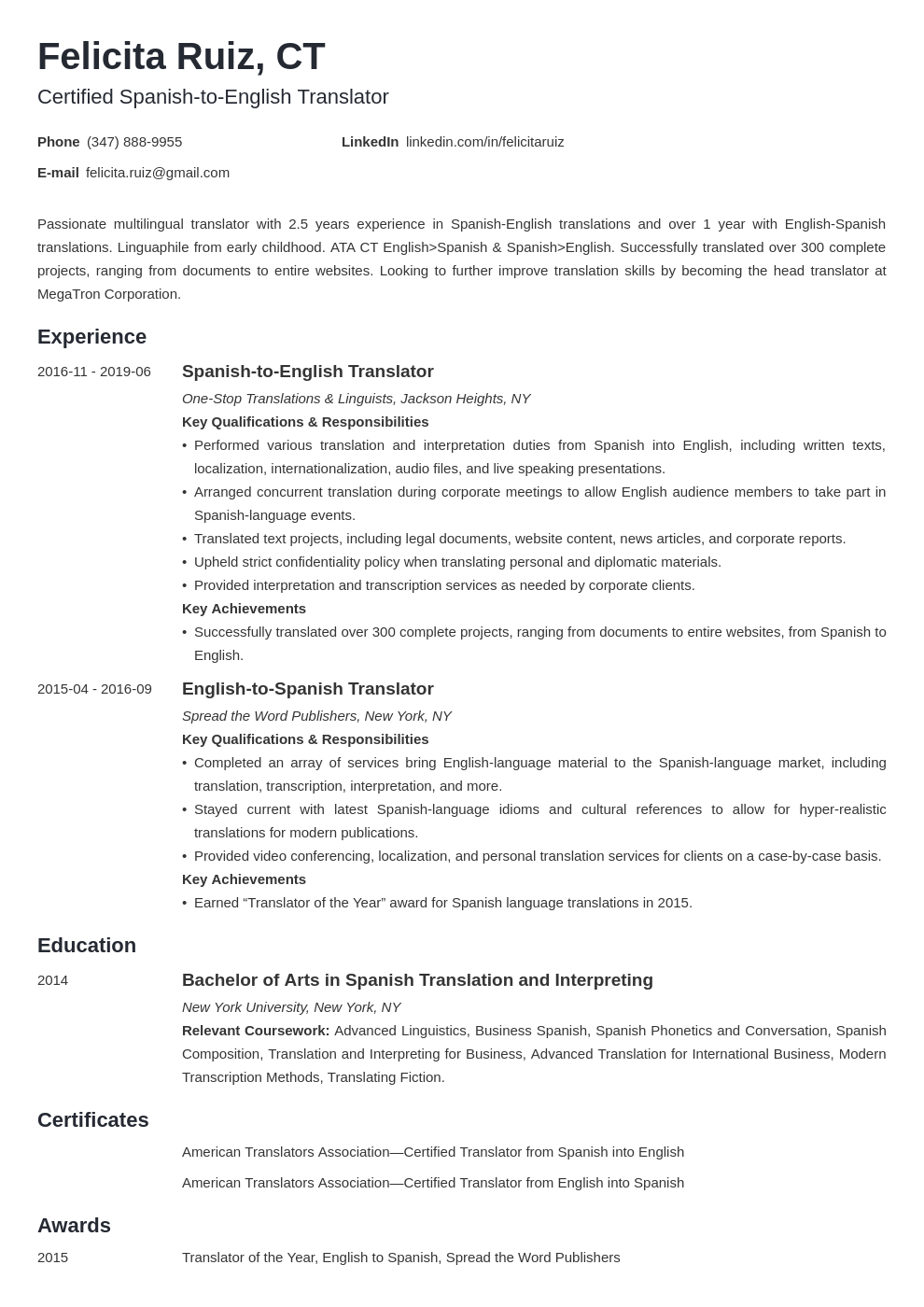 Translator Resume Sample with Skills (Template & Guide)