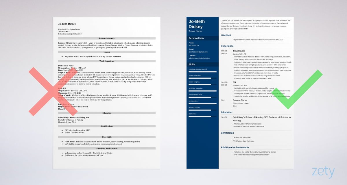 travel nurse resume templates