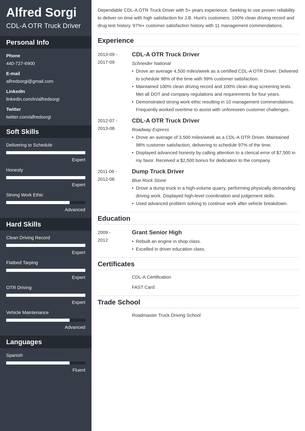 truck driver resume example template cascade
