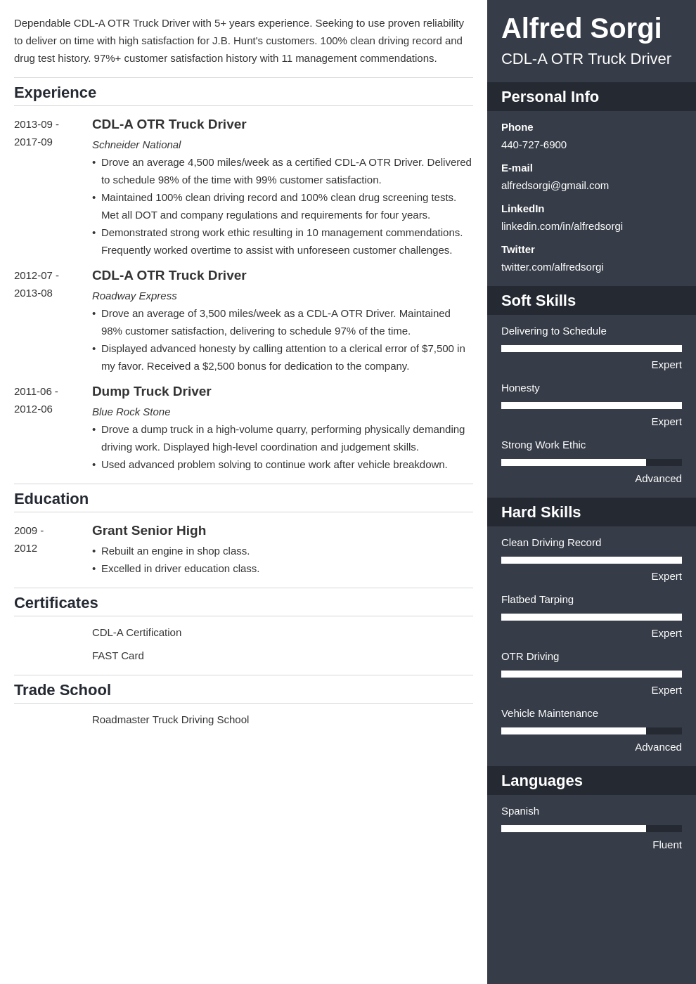 truck driver resume example template enfold