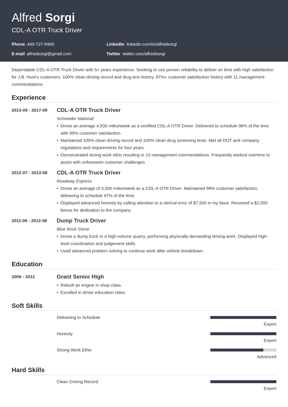 truck driver resume example template influx