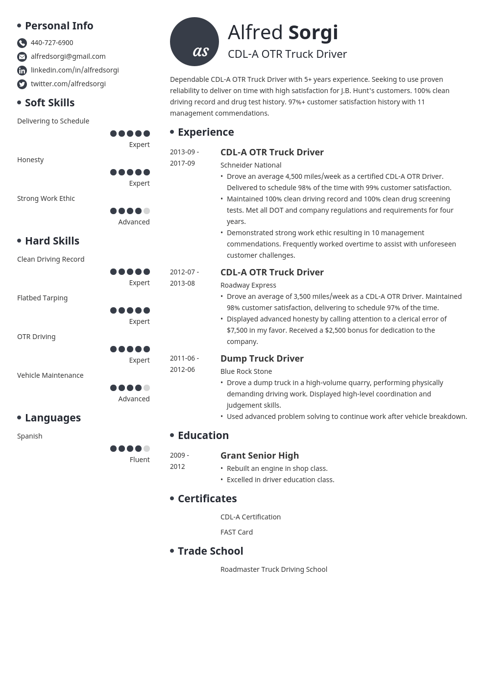 truck driver resume example template initials