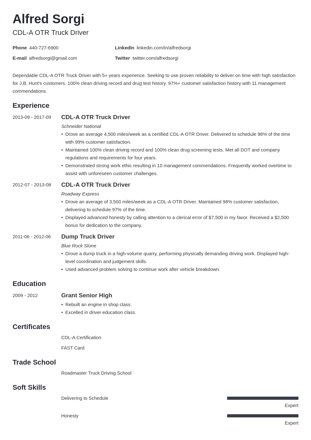 truck driver resume example template minimo