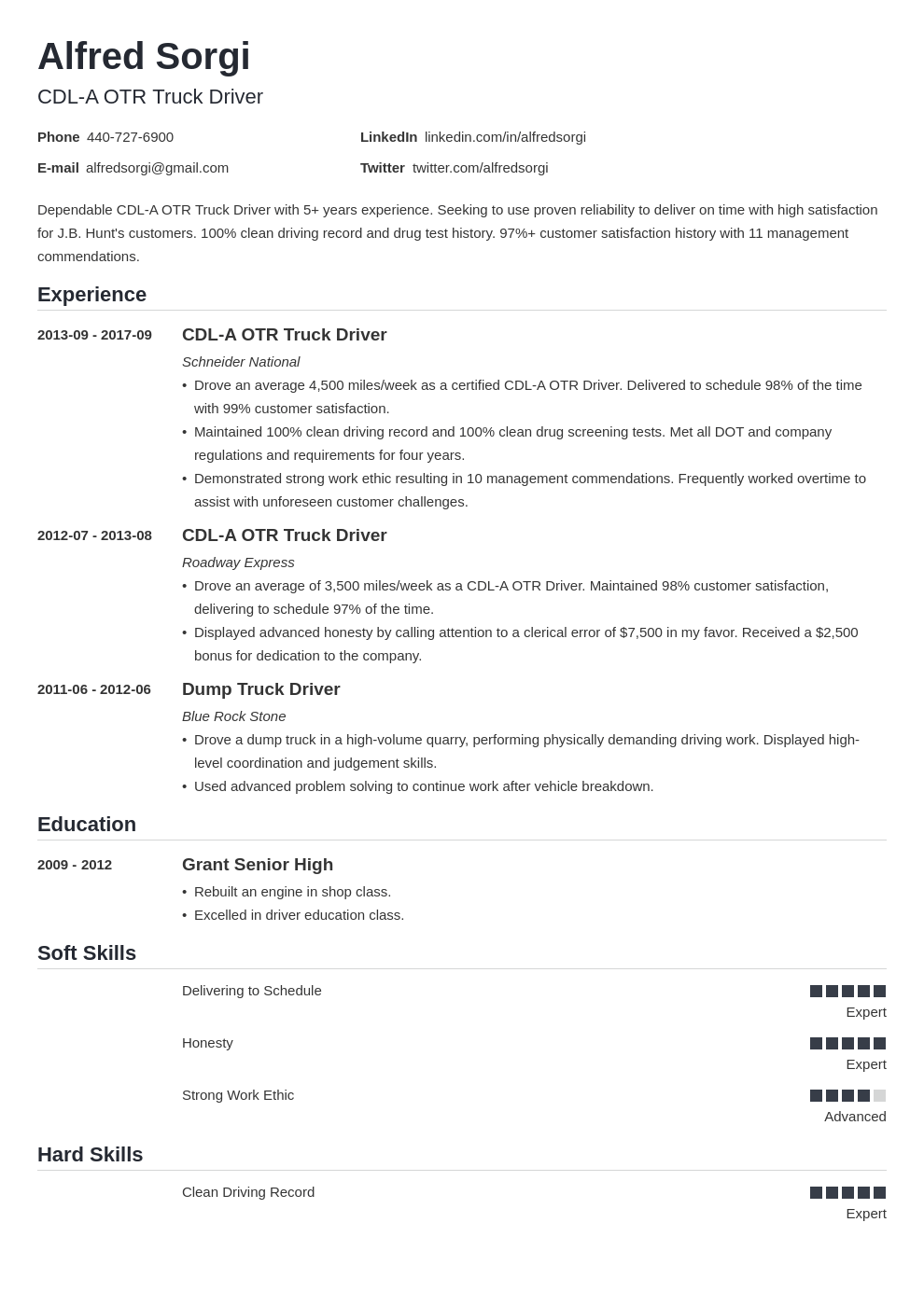 truck driver resume example template nanica