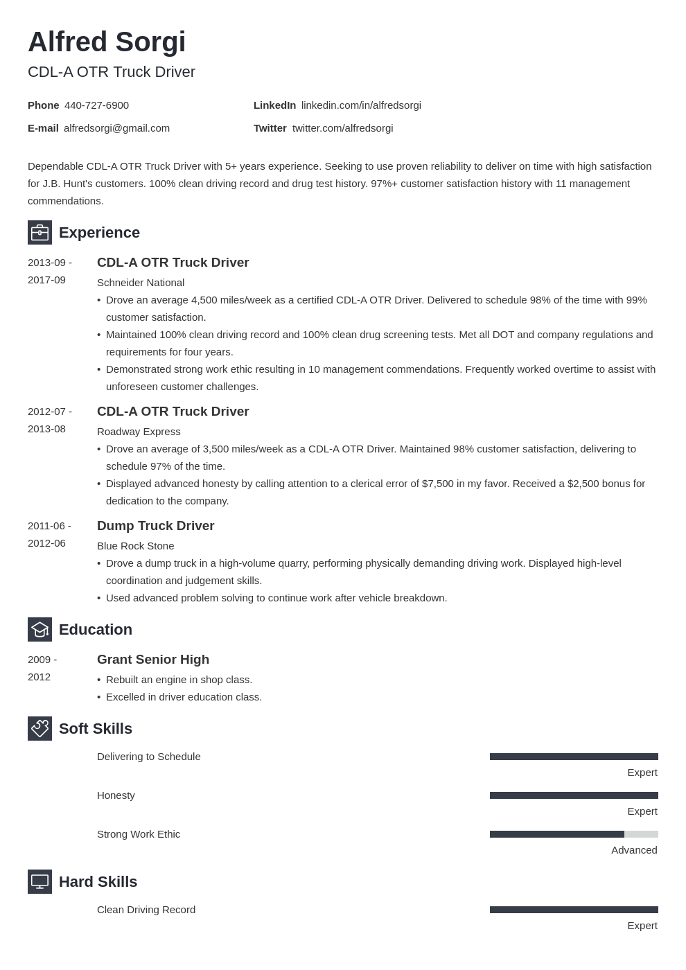truck driver resume example template newcast