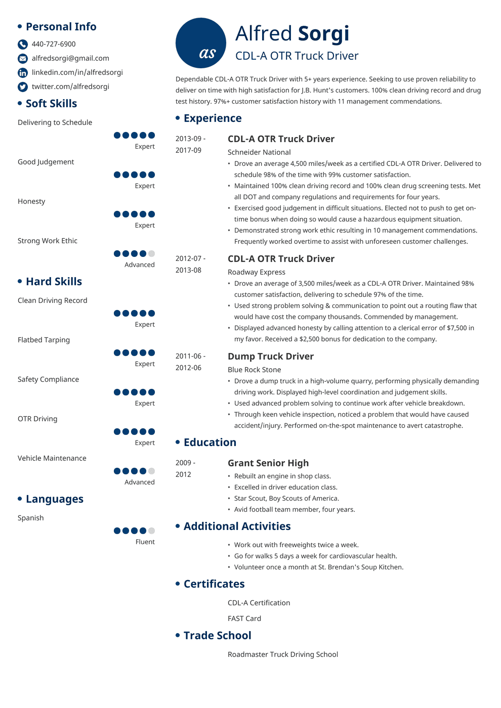 Truck Driver Resume Sample And Complete Guide 20 Examples