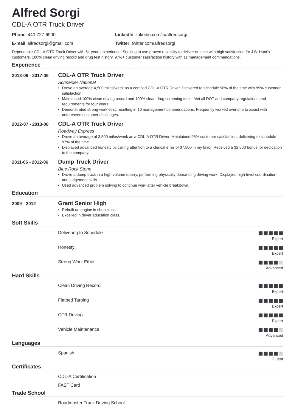 Truck Driver Resume: Sample and Complete Guide [+20 Examples]