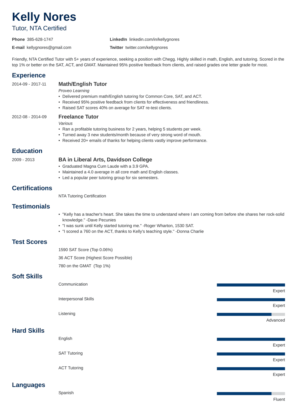 Tutor Resume Sample And Complete Guide 20 Examples
