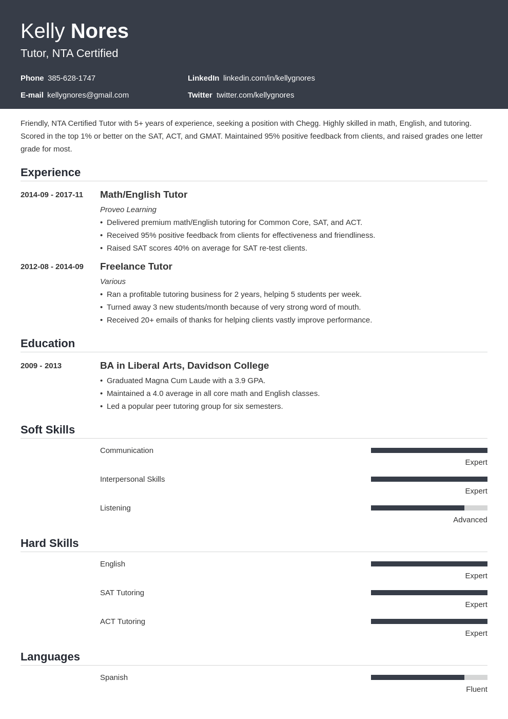 tutor resume example template influx