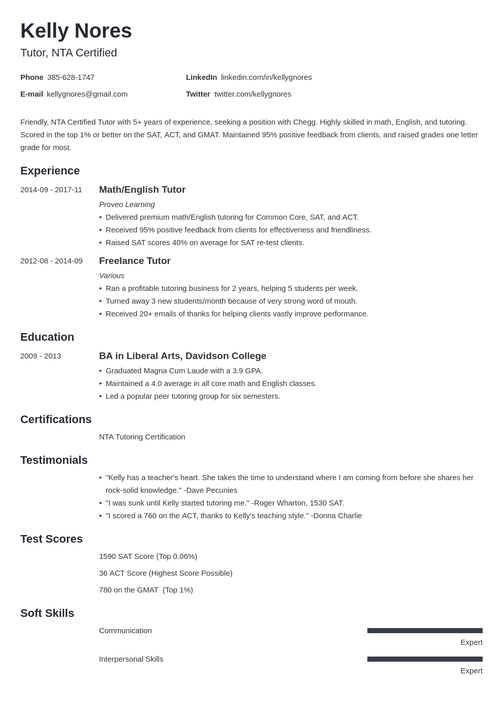 tutor resume example template minimo