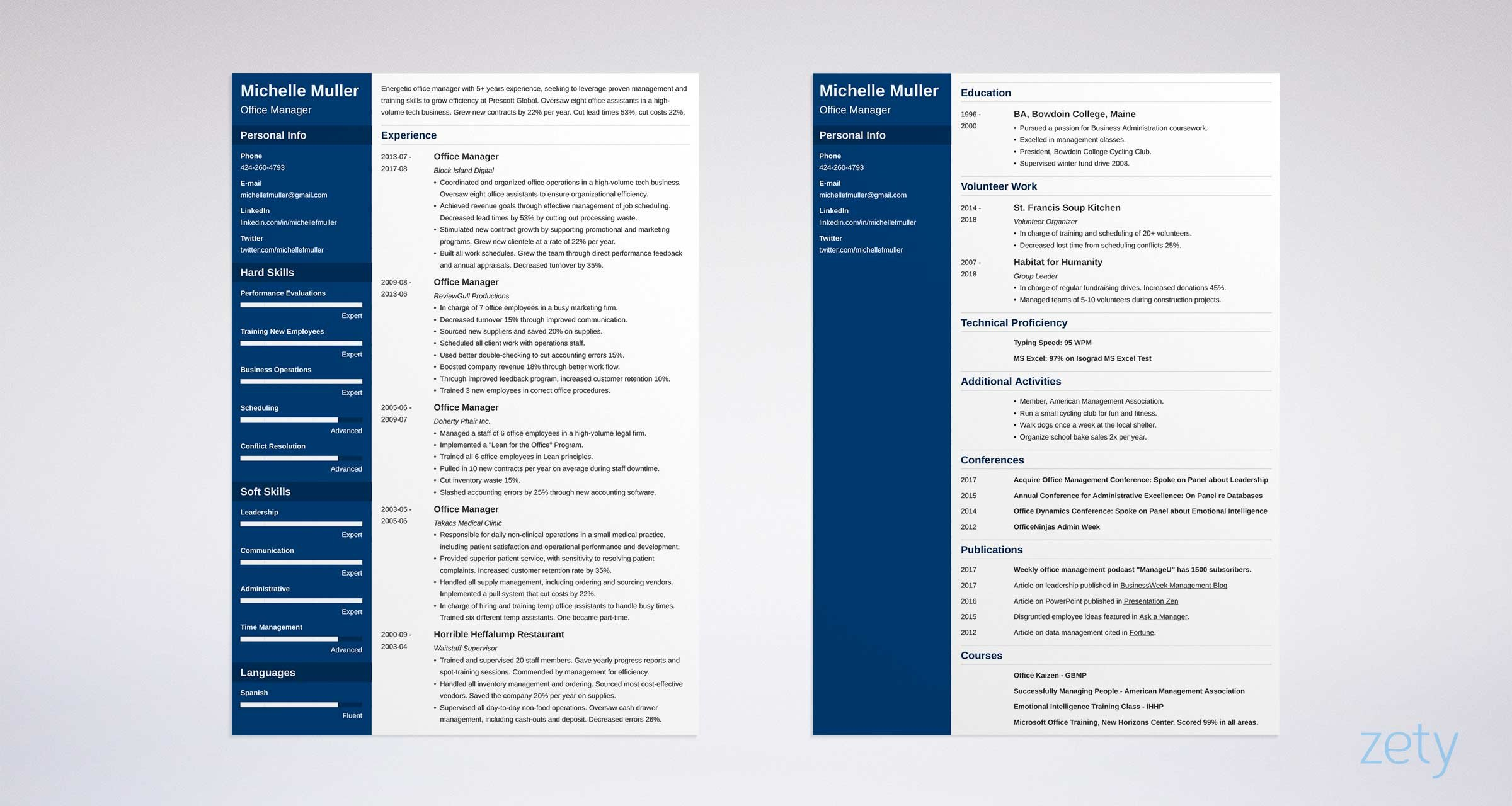 two page resume example with navy blue sidebar