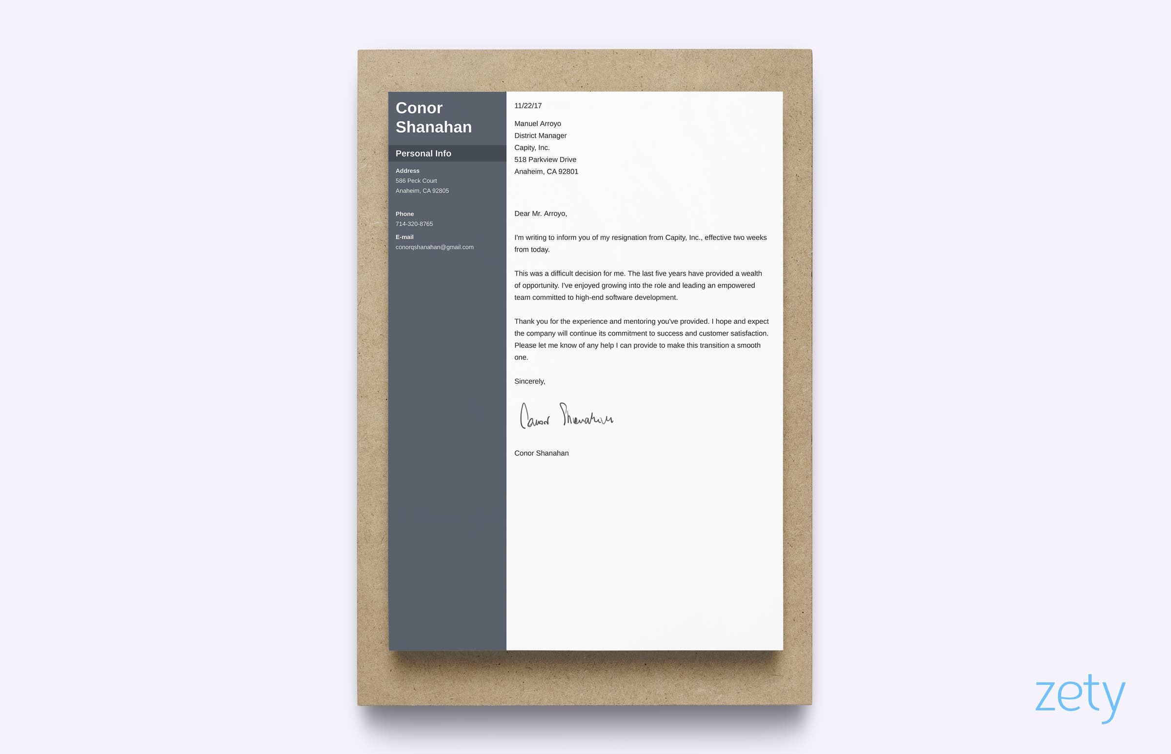 two weeks notice letter of resignation example