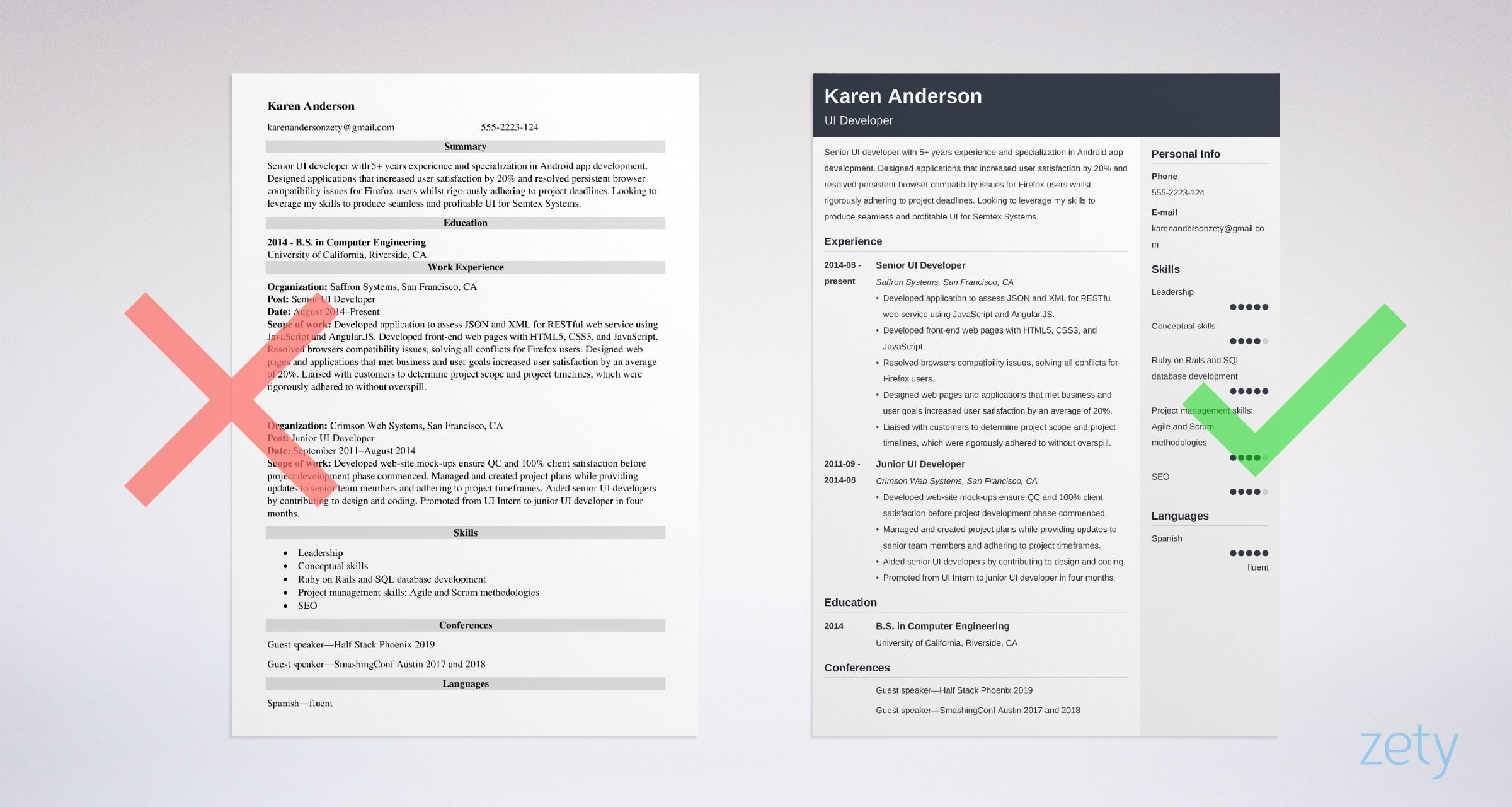 ui developer resume templates