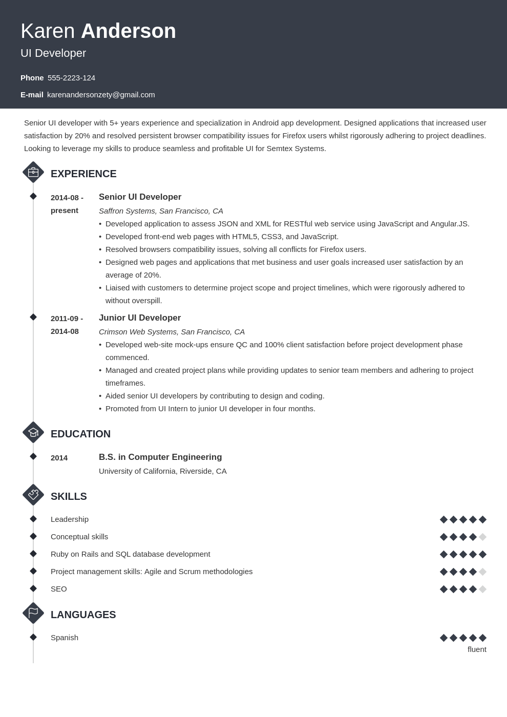 ui developer resume example template diamond