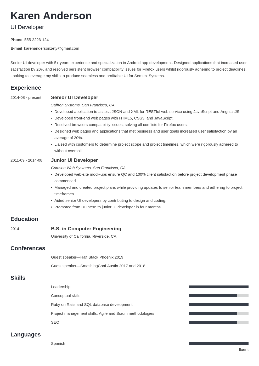 ui developer resume example template minimo