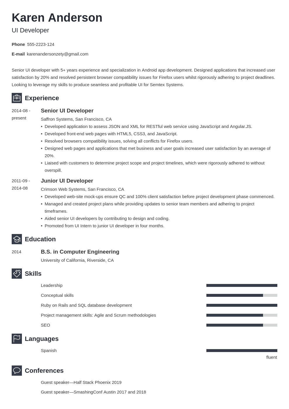 ui developer resume example template newcast