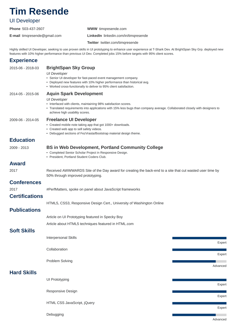 UX Designer Resume & UI Developer Resume Samples + Writing Guide