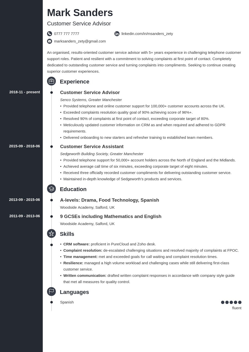 uk customer service cv example template concept