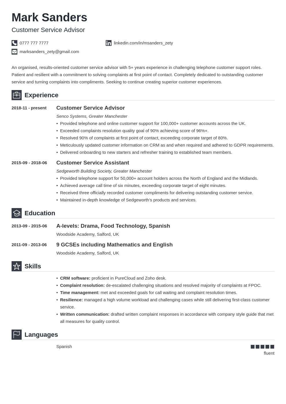 uk customer service cv example template iconic