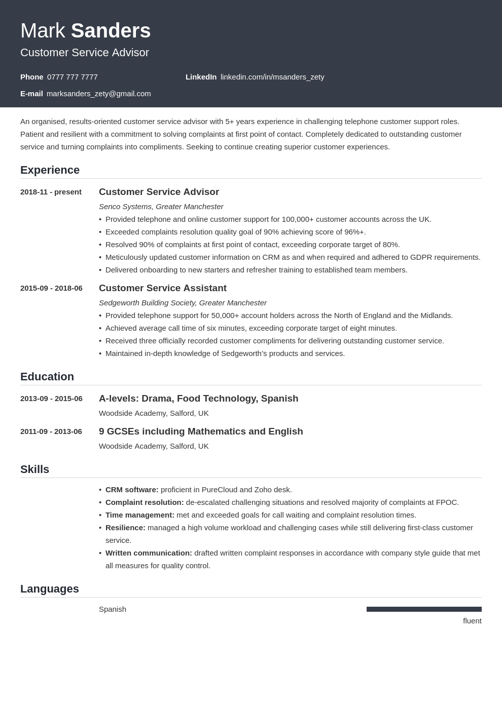 uk customer service cv example template influx
