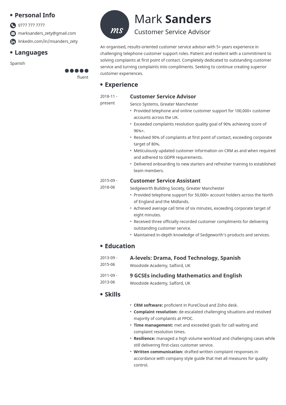 uk customer service cv example template initials