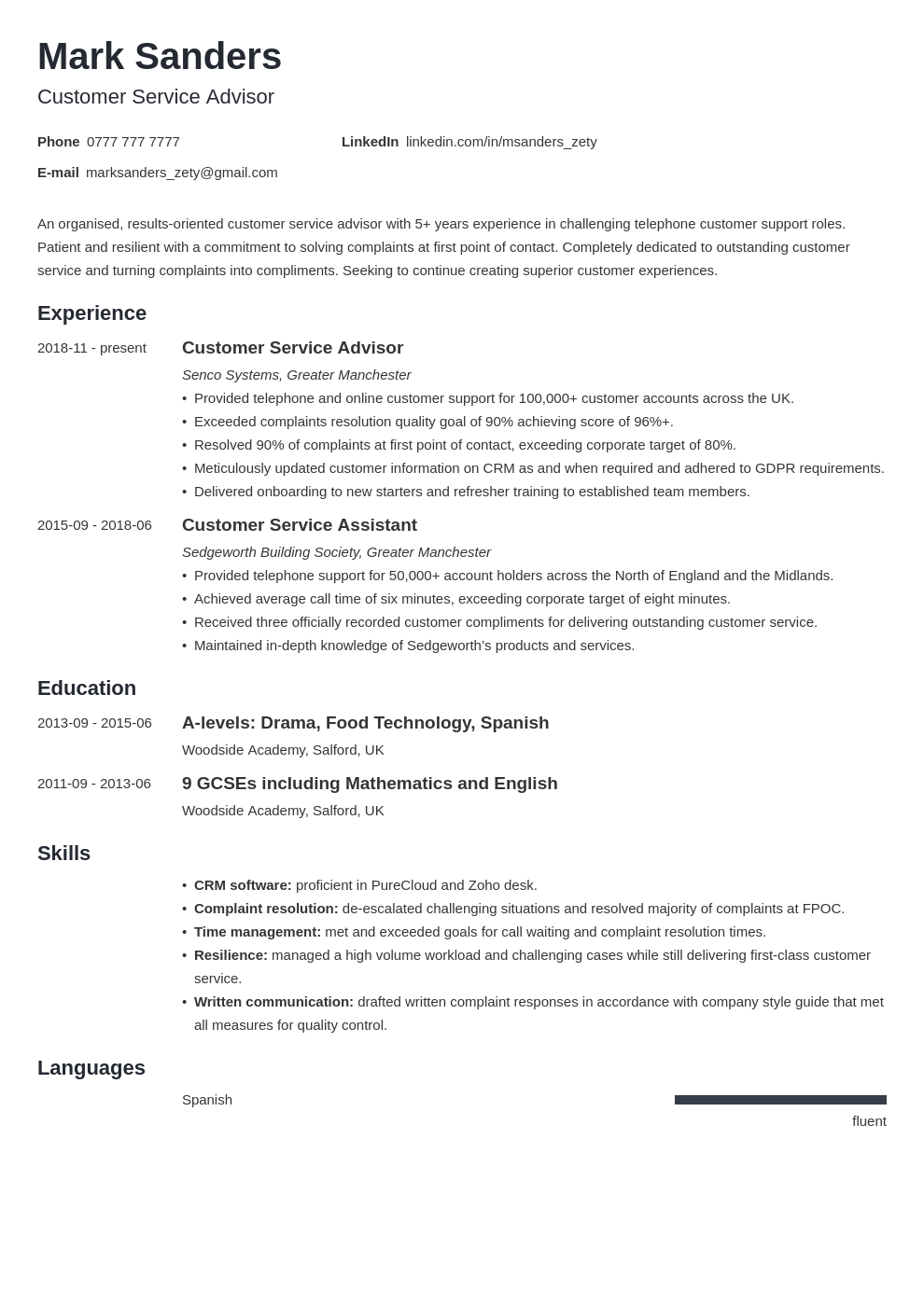 uk customer service cv example template minimo