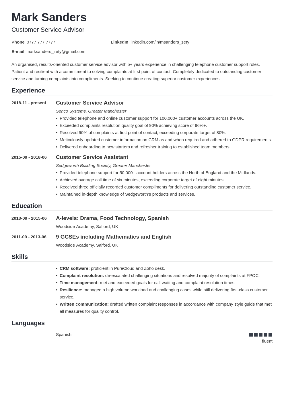 uk customer service cv example template nanica