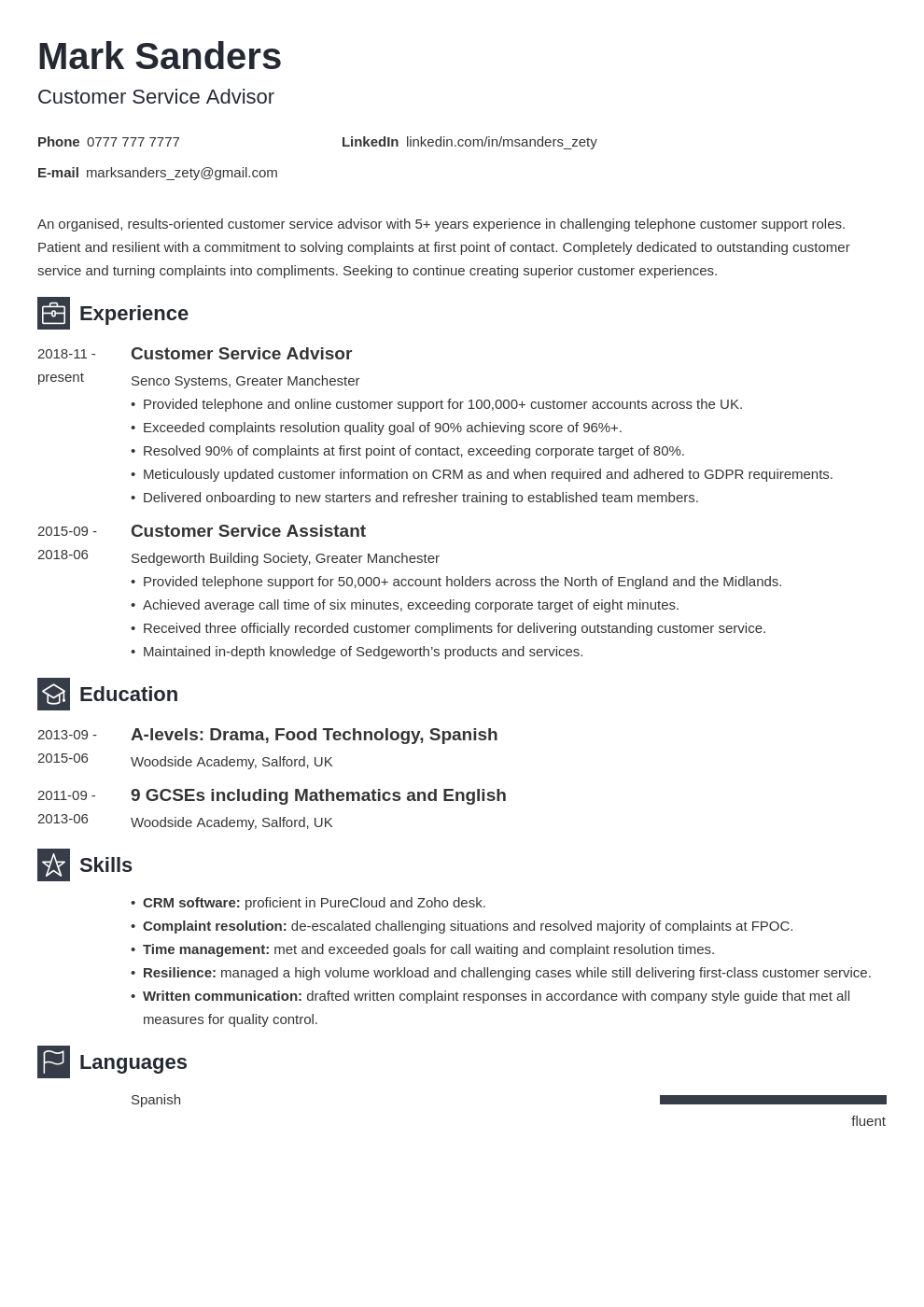 uk customer service cv example template newcast