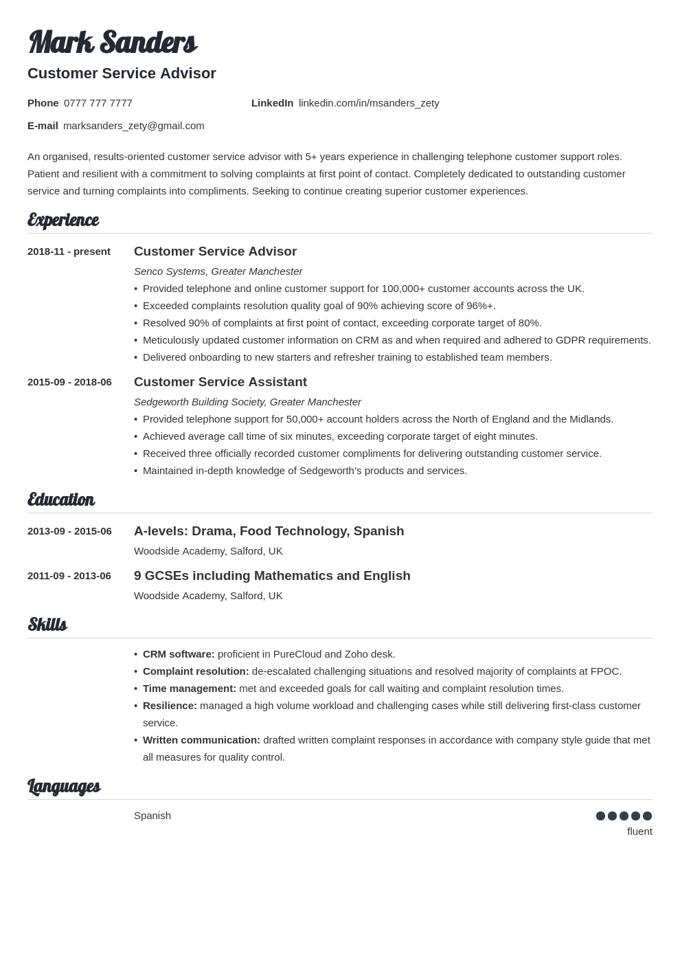 uk customer service cv example template valera