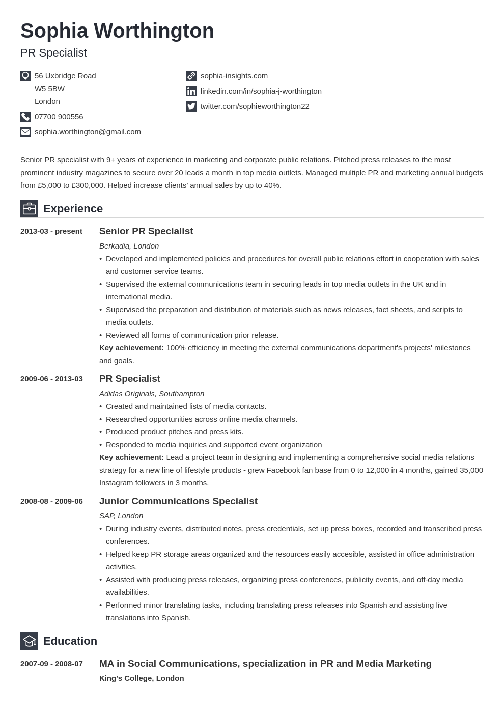 uk cv personal profile template iconic