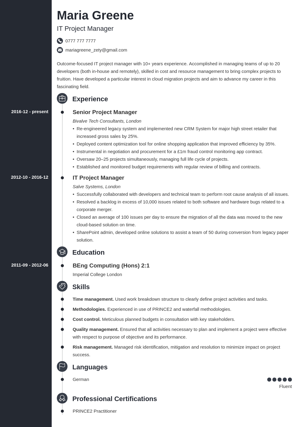 uk project manager cv example template concept